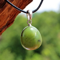 Nephrite jade gemstone pendant with real silver eyelet 12 mm