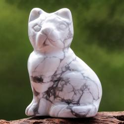 Magnesit Edelstein Katze Figur 42X30mm