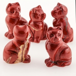 Rote Jaspis Edelstein Katze  40mm