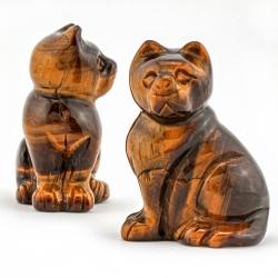 Tigerauge Edelstein Katze Figur 42X30mm