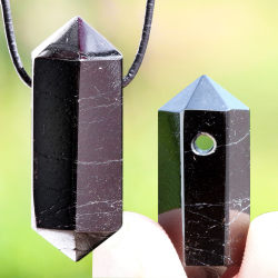 Black Tourmaline Stone Pendant Hexagon Schörl hexagon