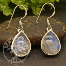 Rainbow Moonstone Earring Drop Sterling Silver 925 12x9mm
