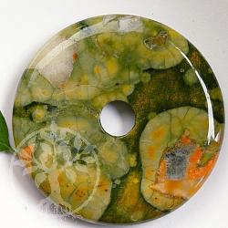 Rhyolit Donut 40mm A Steinscheibe grün