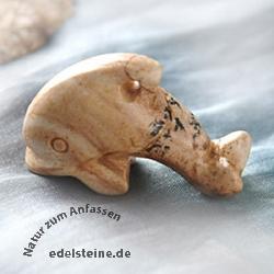 Delfin aus Landschafts-Jaspis klein