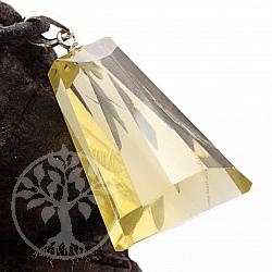 Zitronenquarz Lemonquarz / Lemonzitrin Triangle Facttierter Anhänger Silber 925