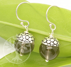 Smoky Quartz Earrings Sterling Silver 925 16mm