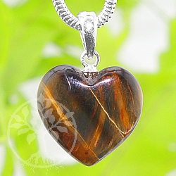 Tigerauge Heart Stone Pendant with Silver Eyelet 20mm