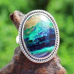 Azurit Ring Edelstein Sterling Silber 925 35x27 mm Ringgröße 58