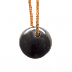 Shungite Black ball Pendant Stone 20mm sphere with hole