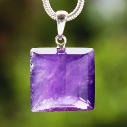Amethyste Faceted Pendant Square With Silver 925 Eyelet 16mm