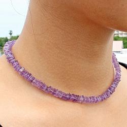 Amethyst Halskette Perlen Scheibe mit echt Silberverschluss
