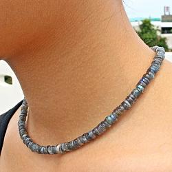 Labradorit Halskette Button Silber Verschluss 45cm