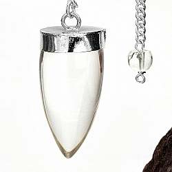 Crystal Pendulum With Rock Crystal Bead 33mm AA