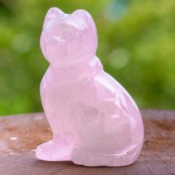 Rosenquarz Katze aus echt Edelstein ca. 40mm.