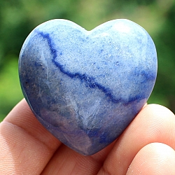 Blue Quartz Stone Heart  A Quality 38mm