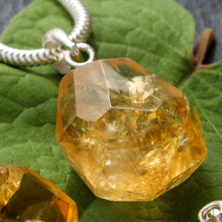 Citrine pendant stone 13-15 mm with real silver eyelet.