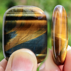 Tiger eye stone rectangle oval shape 30x40mm