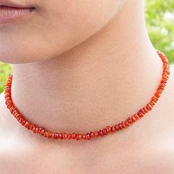 Carnelian Gemstone Necklace 45cm Carnelian Lentil Beads 5mm