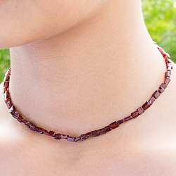 Garnet Necklace Flat rectangle 45 cm.