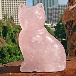 Rosenquarz Stein Carving Katze 76 mm