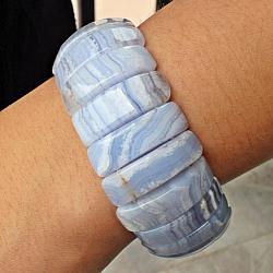 Chalcedony Bracelet Stone Half Moon Shape HAMO