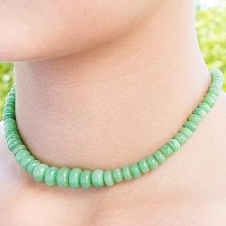 Chrysopras Halskette Chrysopraskette Silberverschluss 925 Button Perlen