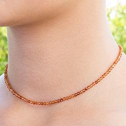 Hessonit Edelstein Halskette 45cm Facettierte Hessonit/Granat Perlen 3mm