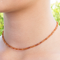 Hessonit Edelstein Halskette 45cm Facettierte Hessonit Perlen 3mm