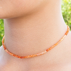 Carnelian Necklace 45cm Faceted Carnelian Beads Gradient 3mm
