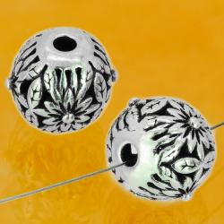 Silber Perlen Flower Power Sterling Silber 925 10 mm