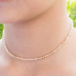 Citrin Edelstein Halskette 45cm runde Citrin Perlen 3,5mm mit Silberverschluss 925