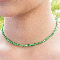 Tsavorite Gemstone Necklace 45cm Faceted Tsavorite Beads 3-4mm Gradient Silver Clasp 925