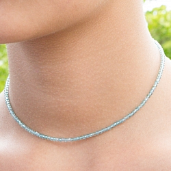 Apatite Necklace Facetted Beads 3 mm.