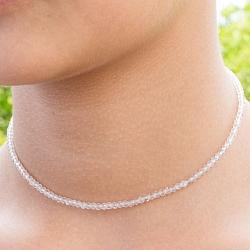 Rosenquarz Edelstein Halskette 45cm Facettierte Rosenquarz Perlen 3mm