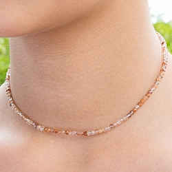 Rutilated Quartz Stone Necklace Red Gold 46cm Faceted Rutile Quartz Beads 3mm