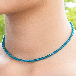 Apatite Gemstone Necklace 44cm Faceted Apatite Button Beads 4mm