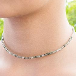 Grüne Rutilquarz Stein Halskette 46cm facettierte Rutilwaurz Perlen 3mm
