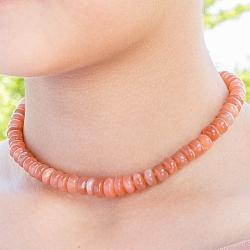 Mondstein Halskette kräftige Mondsteinperlen ca 45cm Silberschliesse 925