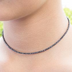 Spinell Halskette schwarz 45cm facettierte Spinell Edelstein Perlen 2.2 mm