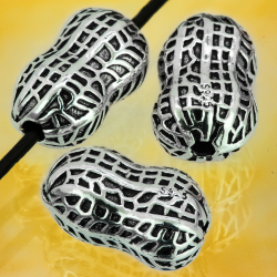 Silver Beads Peanut Sterling Silver 925 14x8mm