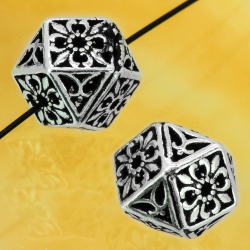 Silver Beads Twelve-Sided Shape Square Sterling Silver 925 7x7mm