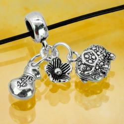 Silberperle mit Anhänger Elefant Blume und Geldsack