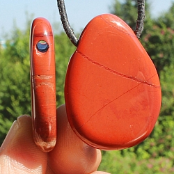 Red Jasper Gemstone Pendant with Hole Super Flat 35mm