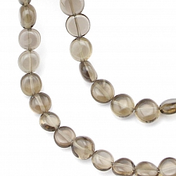 Smoky Quartz Gemstone Necklace 45mm Dics Silver Clasp 7-9mm