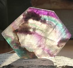 Edelsteinscheibe Fluorit Regenbogen Nr. F1 95x70x10mm