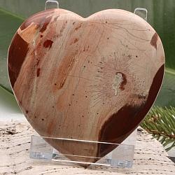riesiges Herz Handschmeichler Roter Jaspis flach 004 82x84x11mm