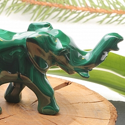 Elephant Malachite Gemstone Figure 10