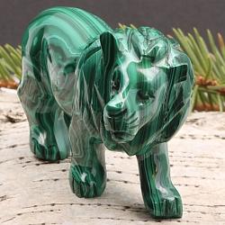Unikat Löwe LEO Raubkatze aus Malachit 75 x 45x 25mm