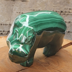 Gemstone Hippo figure of malachite 65x65x35mm