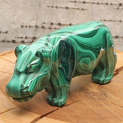Gemstone Hippo figure of malachite 20x25x70mm